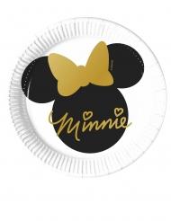 8 Pratos pequenos de cartão Minnie Gold™ 20 cm