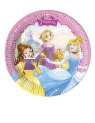8 Pratos pequenos de cartão Princesas Disney™ corações 20 cm