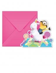 6 Cartões convites com envelopes Minions Unicórnio™