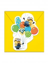 6 Convites com envelopes Minions ballons party™