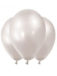 12 Balões metalizados branco pérola 28 cm