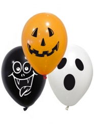 10 Balões de látex spooky Halloween 28 cm