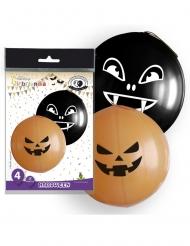 4 Balões gigantes látex Halloween larnaja e pretos 47 cm