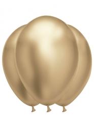 6 Balões de látex dourado acetinado 31 x 39 cm