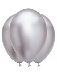 6 Balões de látex prateados acetinados 31 x 39 cm