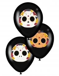 6 Balões de látex dia de los muertos preto 28 cm