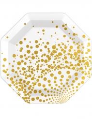 6 Pratos dourados luxo 23 cm