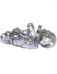 2 Rolos de serpentinas holográficas prateadas 4 m