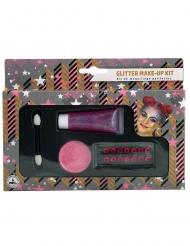 Kit de maquilhagem rosa brilhantes