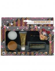Kit de maquilhagem dourado brilhantes