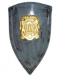 Escudo cinzento e dourado plástico 75 x 45 cm