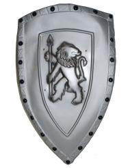 Escudo cinzento leão plástico 72 x 42 cm