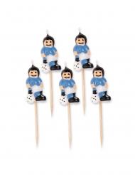 5 velas em palito jogador de futebol azul celeste 8 cm