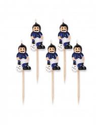 5 Velas em espeto jogadores de futebol azul e preto 8 cm