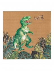 16 Guardanapos de papel dinossauro verdes e dourados 33 x 33 cm