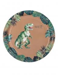 8 Pratos de cartão dinossauro verde e dourado 23 cm