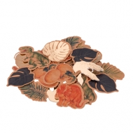 80 Confetis de cartão dinossauro com dourado 3 a 4 cm