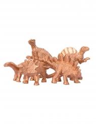 5 Dinossauros decorativos dourados 6 x 1,5 cm