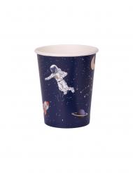 8 Copos de cartão astronauta azul marinho e dourado 250 ml