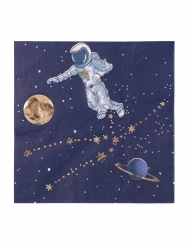 16 Guardanapos em papel astronauta azul marinho e dourado 33 x 33 cm