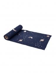 Caminho de mesa em linho azul marinho e dourado astronauta 28 cm x 5 m