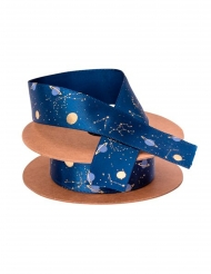 Fita de cetim astronauta azul marinho e dourado 1,9 cm x 10 m