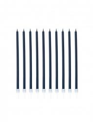 10 Velas gigantes com base azul marinho nácaro 15 cm