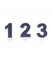 Vela com bobèche número brilhantes azul marinho 7,3 cm