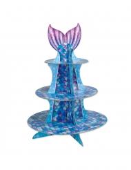 Mostrador de cupcake sereia roxo azul 40 cm