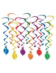 12 Suspensões espirais balões multicolor 43 - 86 cm