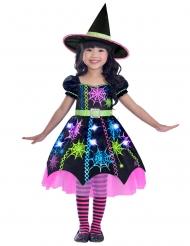 Disfarce bruxa multicolor aranha menina