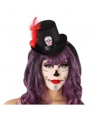 Mini chapéu alto preto Dia de los muertos adulto