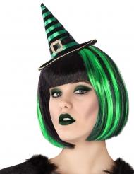 Bandolete mini chapéu de bruxa às riscas preto e verde adulto