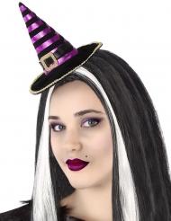 Bandolete mini chapéu de bruxa às riscas preto e violeta adulto