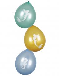 6 Balões Sereia Laguna 25 cm