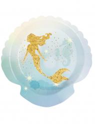 6 Pratos Sereia Laguna de cartão 18 cm