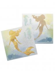 12 Guardanapos Sereia Laguna em papel 33 x 33 cm