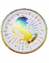 6 Pratos de cartão Unicórnio Holográficas 23 cm
