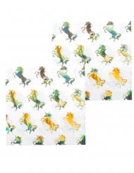 12 Guardanapos de papel Unicórnio Holográfico 33 x 33 cm