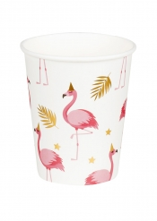 6 Copos Flamingo Trópico de cartão 25 cl