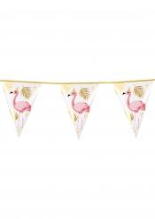 Grinalda 10 bandeirolas Flamingo Trópicos de plástico 30 x 20 cm