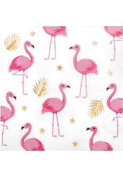 12 Guardanapos Flamingo Tropical de papel 33 x 33 cm