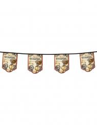 Grinalda 11 bandeirolas de cartão Steampunk 4 m
