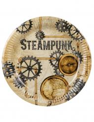 6 Pratos de cartão Steampunk 23 cm