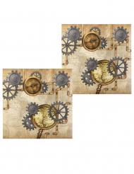 12 Guardanapos de papel Steampunk 33 x 33 cm