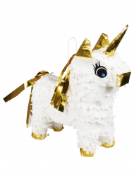 Mini pinhata unicórnio branco e dourado 21 x 17 cm
