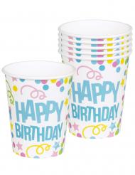 6 Copos Confetis Happy Birthday em cartão 25 cl