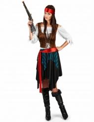 Disfarce pirata às riscas azul e preto tamanho grande mulher