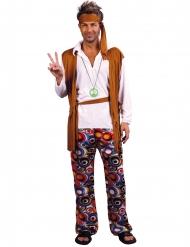 Disfarce tamanho grande hippie castanho e branco homem