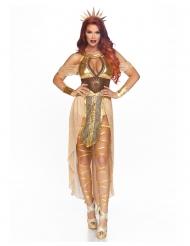 Disfarce luxo rainha do sol dourado mulher
